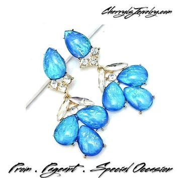 Blue Multitone Iridescent Occasion Earrings