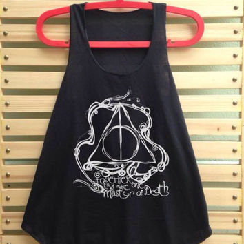 Black Deathly Hallows art shirt Harry potter shirt tank top Harry Potter clothing vintage vest tee tunic - size S M