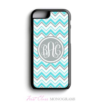 Aqua & Gray Chevron Monogrammed Phone Case