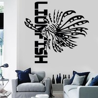 Wall Stickers Vinyl Fish Ocean Lionfish Marine Decor For Living Room (z1695)