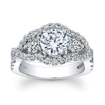 Women's Platinum 3 Stone ring with 1.60 ct Round Brilliant White Sapphire Center and 0.60 carats F-G color VS 1-2 clarity diamonds
