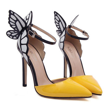 Dreamlike Butterfly Wings High Heel Pointed Sandals  yellow  35