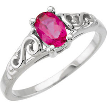 14KW July Imitation Birthstone Ring
