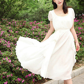 Women's Chiffon Maxi Dress Short Sleeve Bohemian Long Dress Snow White Party Wedding Dress Prom Dress- WH148,S,M,L,XL