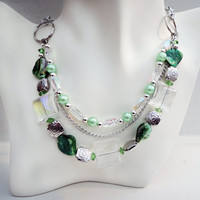Green and Silver Triple Multi-Strand Necklace Handmade by Lindsey - Mother of Pearl Shell Beads - Czech Glass Beads - Boho Chic - Lime Green