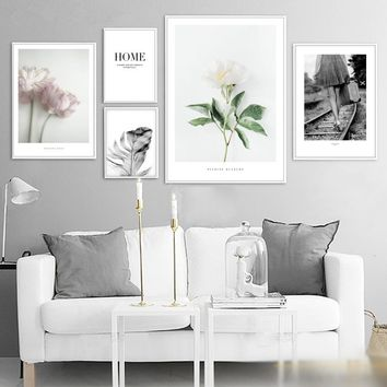 White Rose Pink Flower Feather Wall Art Canvas Painting Nordic Posters And Prints Wall Pictures For Living Room Bedroom Decor