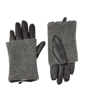 Knit Overlay Gloves in Grey