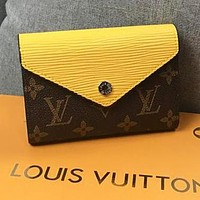 LV Louis Vuitton Fashion Retro Candy Color Leather Buckle Purse Wallet Yellow