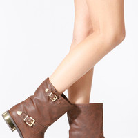 Bamboo Brown Gold Plated Faux Leather Boots