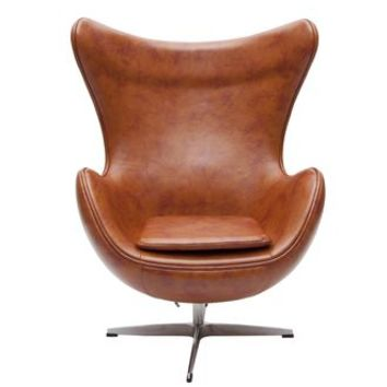 Retro Egg Chair Vintage Tan Faux Leather