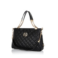 River Island Womens Black quilted chain handle tote bag
