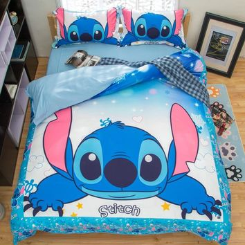 Stitch 3D Printed Bedding Set Cartoon Bedspread Single Twin Full Queen King Size Bedclothes Children's Boy Bedroom Decor Blue