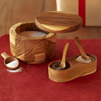 Recycled Teak Salt & Pepper Keepers | VivaTerra