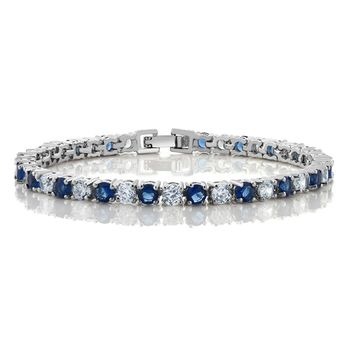 """7""""10.00 Ct Round Cut Blue Simulated Sapphire and Zirconia Tennis Bracelet"""