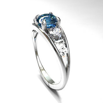 Cornflower blue sapphire filigree ring with diamonds, diamond filigree, light blue sapphire, trinity engagement, unique, blue, diamond rings