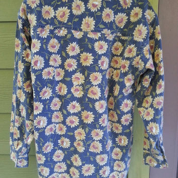 Vintage 90s grunge oversized long sleeve sunflowers shirt by Quizz size medium