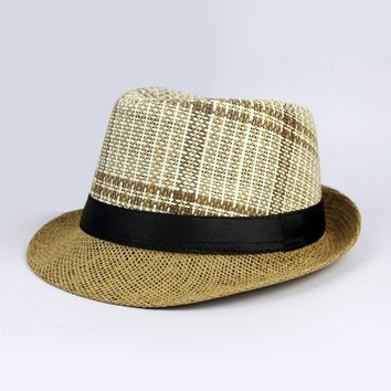 Casual Fashionable Plaid Embellished  Straw Hat For  Men