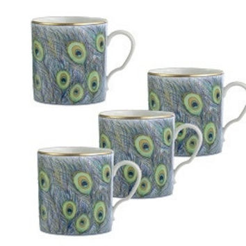 Mottahedeh Peacock Feathers Mugs | Set of 4