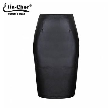 Women clothing Pencil Skirts Summer black MIDI Not Leather PU chic elegant fashion sexy plus size causal skirt 6557