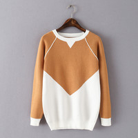 Winter Korean Round-neck Long Sleeve Pullover Knit Sweater [6332299652]