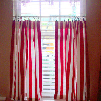 Kitchen cafe curtains - 2 panels/ Tiers - Valance sold seperately / red & white stripe, stripes stripped  Custom Window / Bath/ Laundry