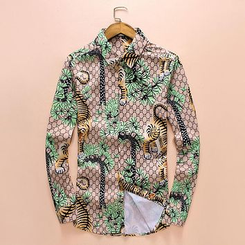 Gucci Popular Men Casual Print Long Sleeve Lapel Top Blouse Green I-A00FS-GJ