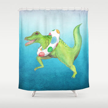 T-Rex Shower Curtain - Tyrannosaurus Dinosaur, swimming pool, Jurassic watercolor,  kids, children decor bathroom, zoo