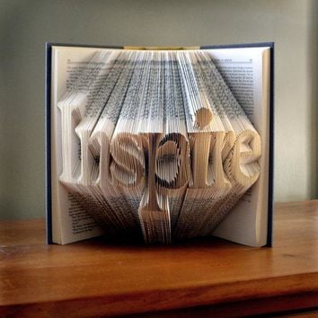 Book Art  -  Inspirational Quote - Unique Present - Book Lover - Handmade - Inspire - Or Your Choice of WordsBook Art -