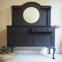 Large french style mirrored sideboard painted in ash / black