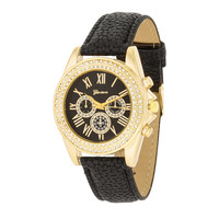 Womens Chronograph Crystals Watch Black