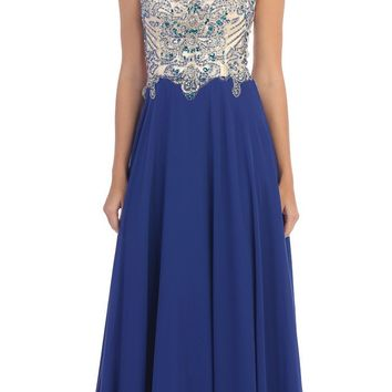 Starbox USA L6098 Royal Blue Illusion Bateau Neck Chiffon Jeweled Bodice Cap Sleeves Prom Dress