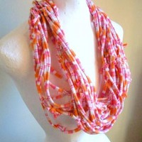 Upcycled Pastel Pink Orange Striped Jersey Scarf Tangerine White Stripes Fall Fashion Repurposed Clothing Womens Boho Infinity Scarf