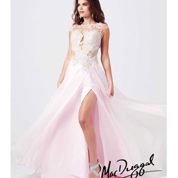 Mac Duggal 2014 Prom Dresses - Ice Pink Satin & Lace Applique Prom Gown