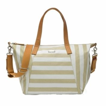 Storksak Noa Coated Canvas Diaper Bag Set - Fawn Stripe