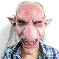 DKF4S Hot Sale Men Latex Mask Goblins Big Nose Horror Mask Creepy Costume Party Cosplay Props Scary Mask for Halloween Terror