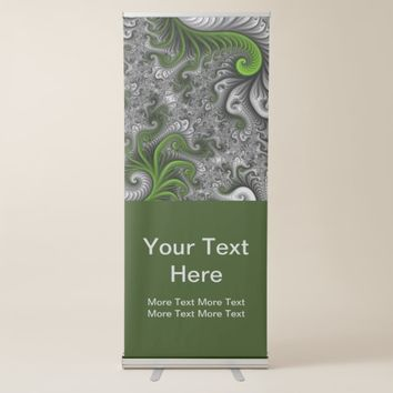 Fantasy World Green And Gray Abstract Fractal Text Retractable Banner