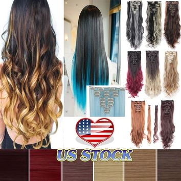 "24""(61cm) 26""(66cm) Real Thick 8 Piece Full Head Long Curly Straight Clip In Hair Extensions Curly Wavy Brown Black Blonde US Wa"