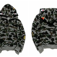 BAPE shark head classic camouflage coat sweater M ~ 2XL
