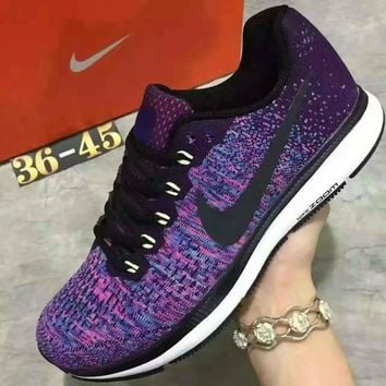 NIKE Sports Knitted jumper wire AIR ZOOM PEGASUS shoes fashion shoes Purple Tagre™