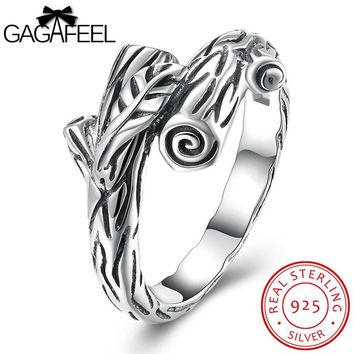 GAGAFEEL Branches Rings Real Solid 925 Sterling-Silver-Jewelry Finger Bijoux With Plant Design For Women Anniversary Jewelry