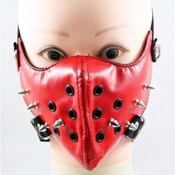 Women female fashion trendsetter mask rivet punk rock Red Leahter face mask cool elastic Moto cosplay lady goth Harajuku girls
