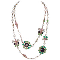 Chanel Green/Purple/Mauve Poured Glass Crystal Faux Pearl Necklace