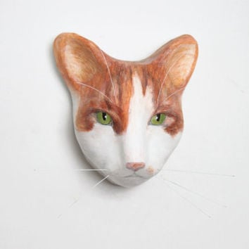 3D Custom cat portrait / wall mount, art scullpture, faux taxidermy