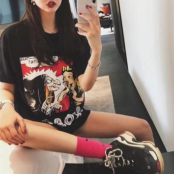 """Gucci"" Women Loose Casual Letter Cartoon Snow White Pattern Print Short Sleeve T-shirt Top Tee"