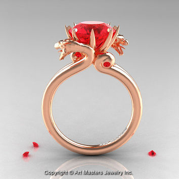 Art Masters 14K Rose Gold 3.0 Ct Rubies Dragon Engagement Ring R601-14KRGR