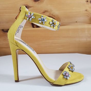 Suzzy 52 Yellow  Jeweled Flower Detailed High Heel Sandal Shoe - 4.25' Heels