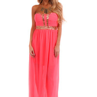 Bright Pink Strapless Sequin Trim Dress
