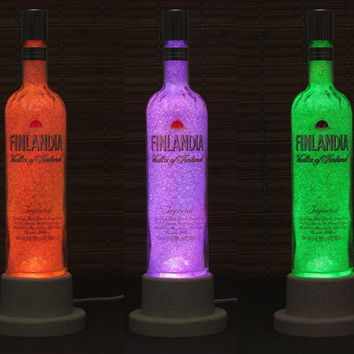 Finlandia Vodka Color Changing Bottle Lamp LED Remote Controlled Eco Friendly rgb LED/Party Light -French Vodka -Bodacious Bottles-