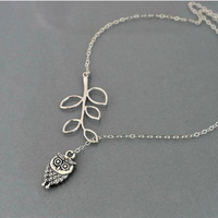 Owl Cats Leaf Hot Sale Silver Chain Necklace = 4831062340