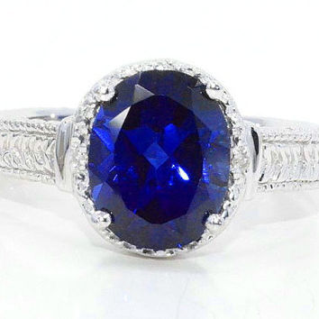 4 Carat Blue Sapphire Diamond Ring White Gold Quality